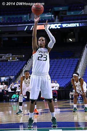 65-62 FSU after the two makes  - MIA Players: #23 Adrienne Motley