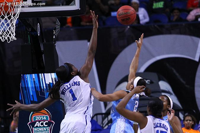 DWHoops Photo  - Duke Tags: #1 Elizabeth Williams  - UNC Players: #2 Latifah Coleman