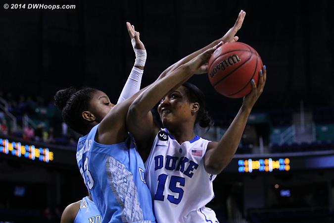 Foul on Diamond  - Duke Tags: #15 Richa Jackson - UNC Players: #23 Diamond DeShields