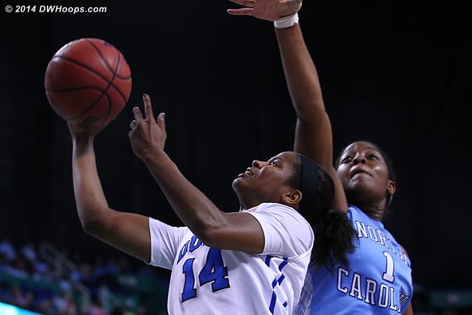 DWHoops Photo  - Duke Tags: #14 Ka'lia Johnson - UNC Players: #1 Stephanie Mavunga