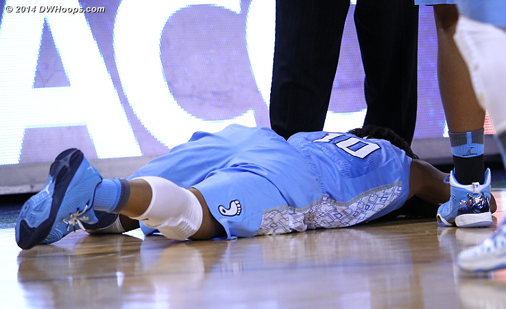 Butts down after colliding with Elizabeth Williams  - UNC Players: #10 Danielle Butts