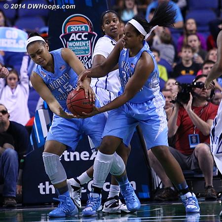 Same team!  - UNC Players: #15 Allisha Gray, #34 Xylina McDaniel