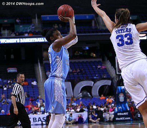 Key sequence: DeShields hits a three over Peters  - Duke Tags: #33 Haley Peters - UNC Players: #23 Diamond DeShields