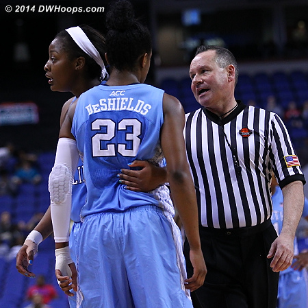Key sequence: Referee Bryan Brunette speaks to the UNC bench  - UNC Players: #1 Stephanie Mavunga, #23 Diamond DeShields