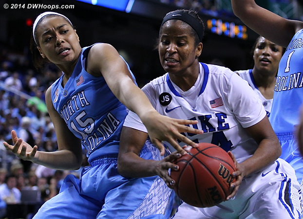ACCWBBDigest Photo  - Duke Tags: #14 Ka'lia Johnson - UNC Players: #15 Allisha Gray