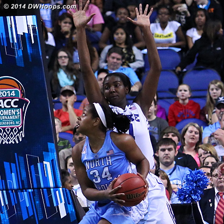 DWHoops Photo  - Duke Tags: #1 Elizabeth Williams  - UNC Players: #34 Xylina McDaniel