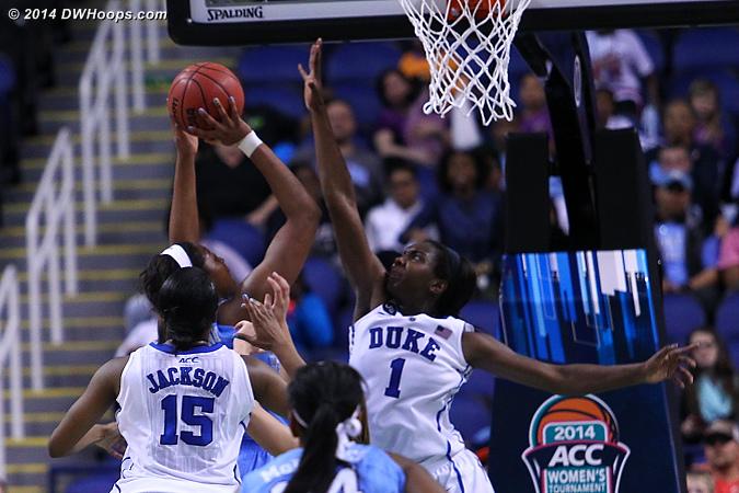 Williams rejects Mavunga's stickback try  - Duke Tags: #1 Elizabeth Williams  - UNC Players: #1 Stephanie Mavunga