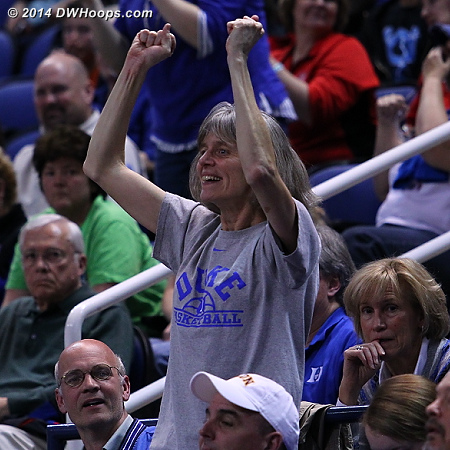 Jenna's mom cheering Duke on