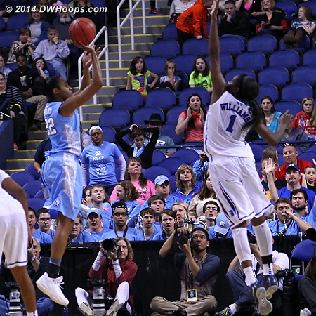 Williams would fall into Bryant for foul #5  - Duke Tags: #1 Elizabeth Williams  - UNC Players: #22 N'Dea Bryant