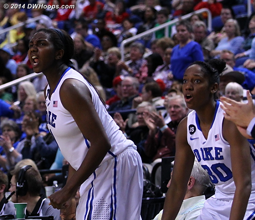 Bench reaction to Chidom's free throws  - Duke Tags: #1 Elizabeth Williams