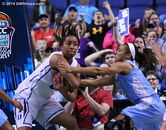 Chidom grabbed the rebound off a DeShields miss and was immediately fouled by Coleman  - Duke Tags: #22 Oderah Chidom - UNC Players: #2 Latifah Coleman