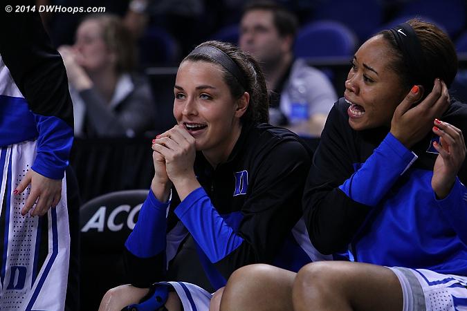 DWHoops Photo  - Duke Tags: #21 Kendall McCravey-Cooper, #23 Rebecca Greenwell, Duke Bench