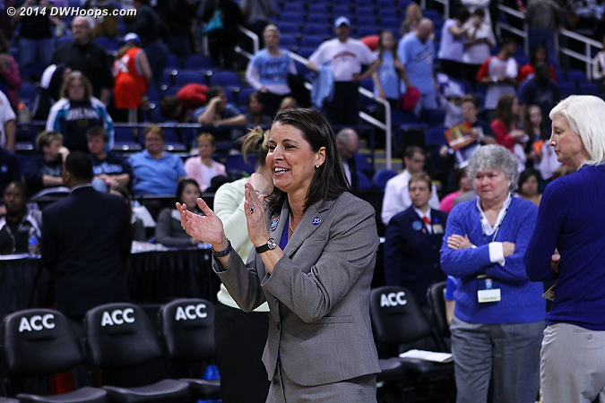 Coach P enjoying the Duke victory  - Duke Tags: Joanne P. McCallie