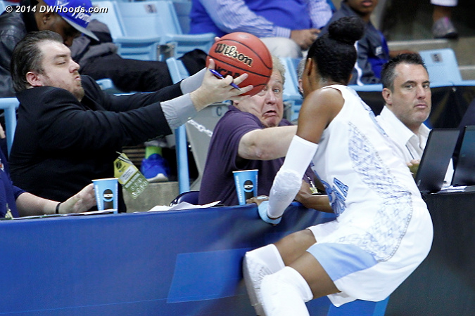 Close call for Digest contributor Mike Potter!  - UNC Players: #23 Diamond DeShields