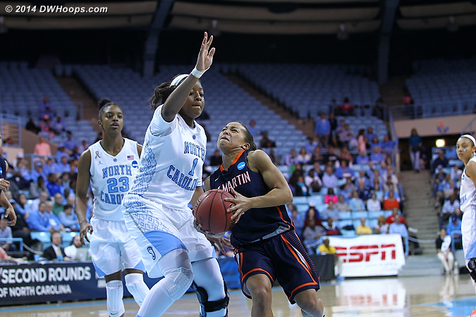 ACCWBBDigest Photo  - UNC Players: #1 Stephanie Mavunga - UT-M Tags: #11 Heather Butler