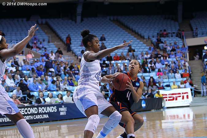 ACCWBBDigest Photo  - UNC Players: #23 Diamond DeShields - UT-M Tags: #11 Heather Butler
