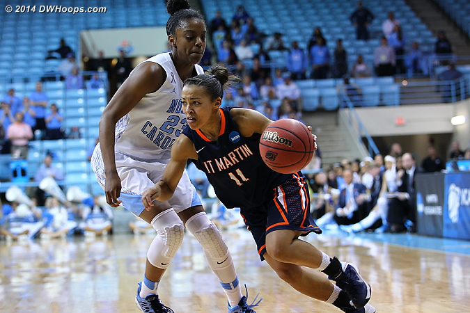 The size disparity apparent between the two guards  - UNC Players: #23 Diamond DeShields - UT-M Tags: #11 Heather Butler