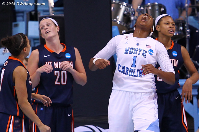 Mavunga celebrates drawing a foul  - UNC Players: #1 Stephanie Mavunga - UT-M Tags: #20 Katie Schubert, #3 Shai Warfield-Cross