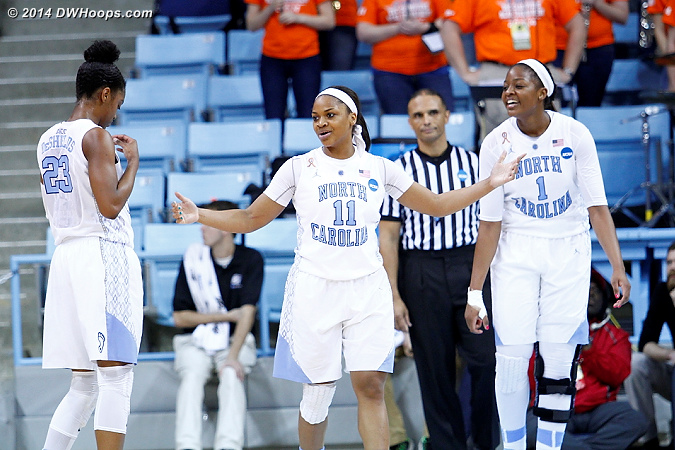 Skyhawks on a mini-run  - UNC Players: #11 Brittany Rountree, #1 Stephanie Mavunga, #23 Diamond DeShields