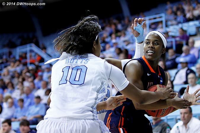 UNC finally put on the press and forced a time out  - UNC Players: #10 Danielle Butts - UT-M Tags: #12 Jasmine Newsome