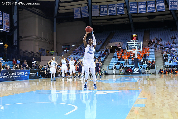 After a Flagrant 1 was called on Tiara Caldwell, Diamond DeShields took two three throws on what became a 7 point Tar Heel trip.  That cut the lead from 50-35 to 50-42.  - UNC Players: #23 Diamond DeShields