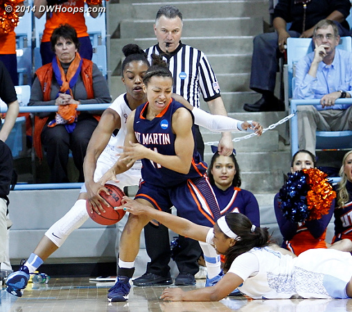 Four of UT-Martin's 11 turnovers came during UNC's comeback  - UNC Players: #11 Brittany Rountree, #23 Diamond DeShields - UT-M Tags: #11 Heather Butler