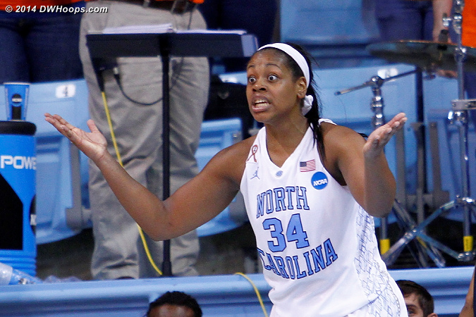 Foul #2 on McDaniel, the two Skyhawk free throws ended a 13-0 UNC run  - UNC Players: #34 Xylina McDaniel