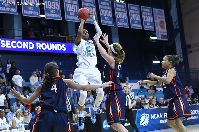 Another high degree of difficulty hit for DeShields  - UNC Players: #23 Diamond DeShields