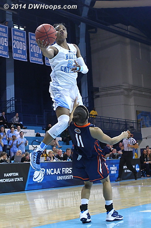 Playing with three fouls, a no call  - UNC Players: #23 Diamond DeShields - UT-M Tags: #11 Heather Butler