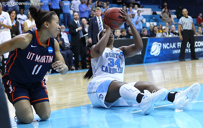 McDaniel hits from the floor, literally!  - UNC Players: #34 Xylina McDaniel - UT-M Tags: #11 Heather Butler