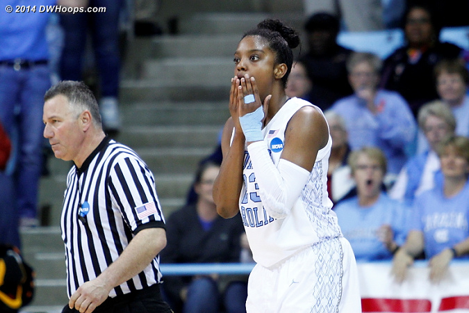 Foul #4  - UNC Players: #23 Diamond DeShields