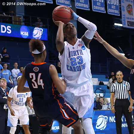 Foul #5 on DeShields, a charge just 14 seconds after drawing her 4th.  She exits with 1:34 remaining and UNC up three.  - UNC Players: #23 Diamond DeShields - UT-M Tags: #34 Ashia Jones