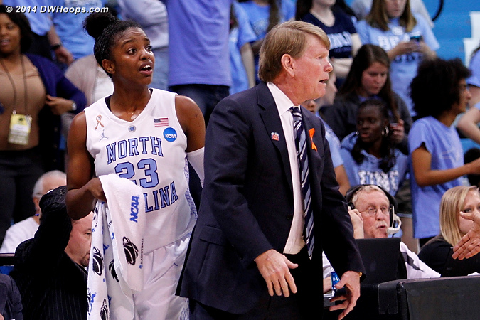 ACCWBBDigest Photo  - UNC Players: Assistant Coach Andrew Calder, #23 Diamond DeShields