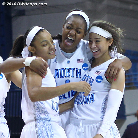 Elation  - UNC Players: #2 Latifah Coleman, #15 Allisha Gray, #1 Stephanie Mavunga
